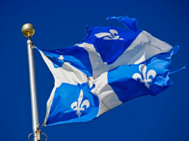 Quebec Flag in Old Quebec, Quebec City, Quebec, Canada. UNESCO World Heritage Site.