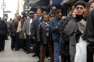 The Daily News Job Fair at The New Yorker Hotel on January 10, 2007.Thousands lined up for a chance to apply or hand out their resume to a variety of employers. ( Frances Roberts) (Newscom TagID: lrphotos034999) [Photo via Newscom]